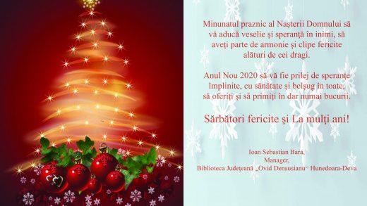 Biblioteca Județeană Ovid Densușianu vă urează sărbători fericite!